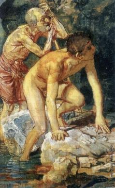 Иванов А. А. Старик, опирающийся на палку, и мальчик, выходящий из воды (на фоне пейзажа)