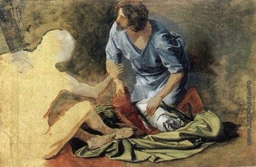 Иванов А. А. Богатый старик и раб на коленях (группа)