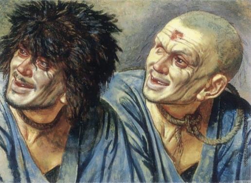 Иванов А. А. Голова раба с черными волосами. Голова раба, бритая, с клеймом на лбу