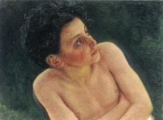 Иванов А. А. Полуфигура обнаженного мальчика со скрещенными на груди руками (в повороте сидящего мальчика из средней группы)