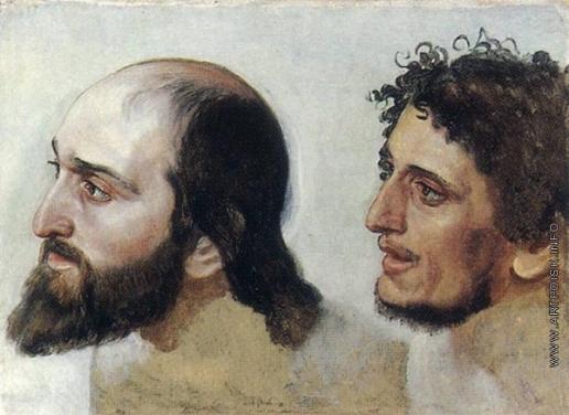 Иванов А. А. Мужская голова (в повороте головы дрожащего, надевающего рубашку - два варианта)