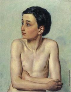 Иванов А. А. Полуфигура обнаженного мальчика с темными волосами (в повороте дрожащего мальчика)