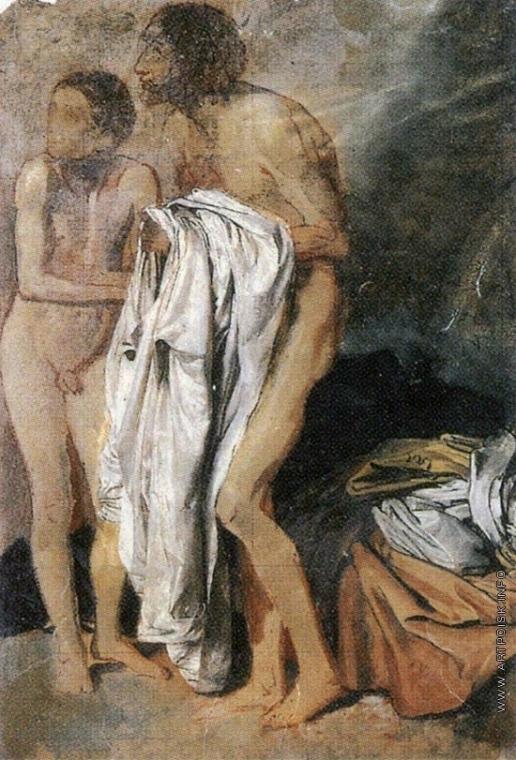 Иванов А. А. Дрожащий, надевающий рубашку, и дрожащий мальчик (группа). Драпировки, лежащие на земле