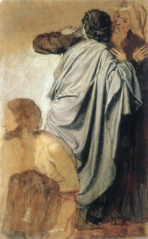 Иванов А. А. Молодой назарей, старик в чалме и дрожащий, надевающий рубашку (группа)