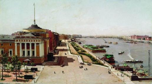 Беггров А. К. Вид на Неву от Зимнего дворца