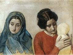 Иванов А. А. Женщина в покрывале и женщина с ребенком (полуфигуры)
