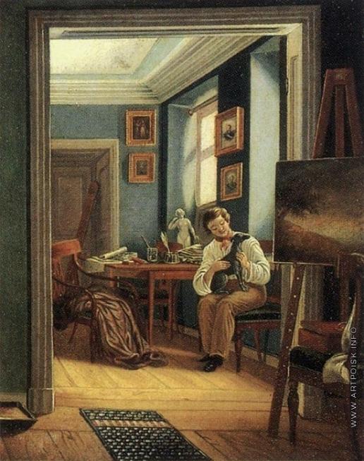 Зеленцов К. А. Комната художника; в ней сидящий на стуле человек ласкает собаку
