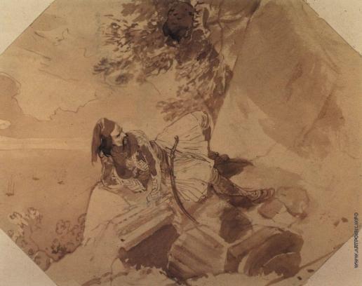 Брюллов К. П. Грек, лежащий на скале. Из греческого альбома