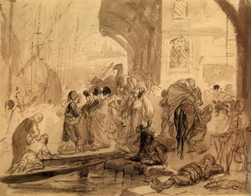 Брюллов К. П. Гавань в Константинополе. Из греческого альбома