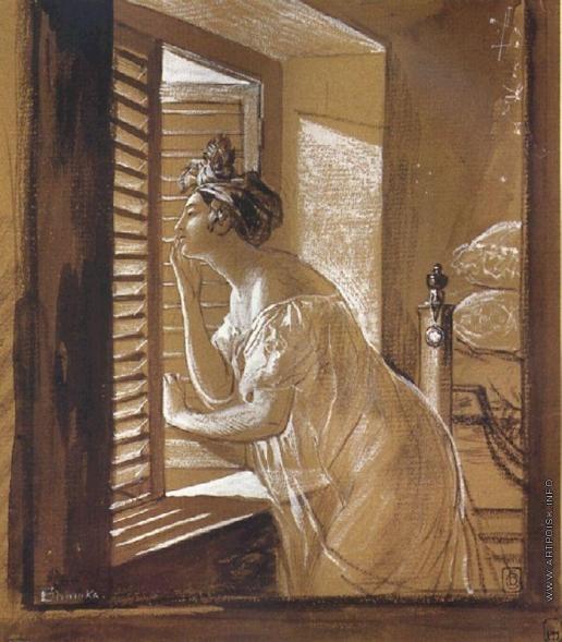 Брюллов К. П. Женщина, посылающая поцелуй в окно
