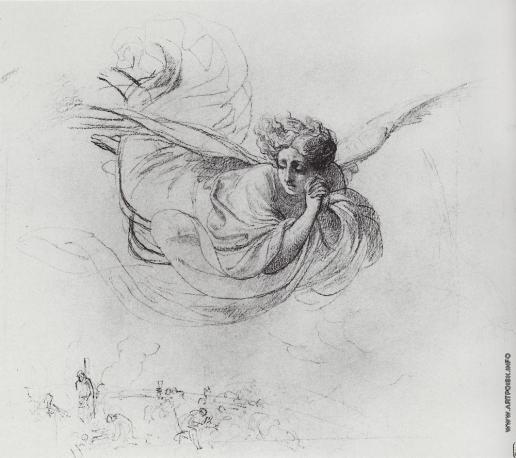 Брюллов К. П. Летящий ангел, оплакивающий жертвы инквизиции