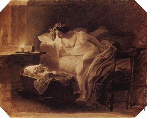 Брюллов К. П. Мать, просыпающаяся от плача ребенка