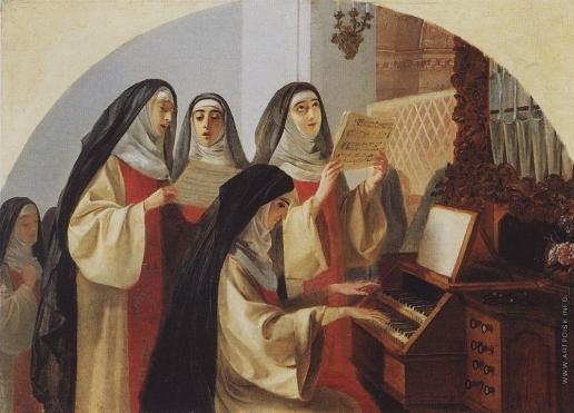 Брюллов К. П. Монахини монастыря Святого Сердца в Риме, поющие у органа