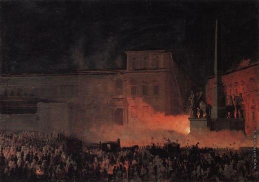 Брюллов К. П. Политическая демонстрация в Риме в 1846 году