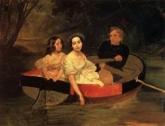 Брюллов К. П. Портрет автора и баронессы Е. Н. Меллер-Закомельской с девочкой, в лодке