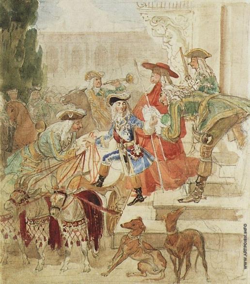 Брюллов К. П. Прогулка Людовика XV в детстве