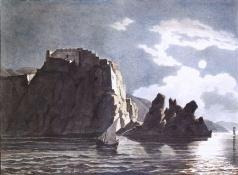 Брюллов К. П. Скалы и луна ночью