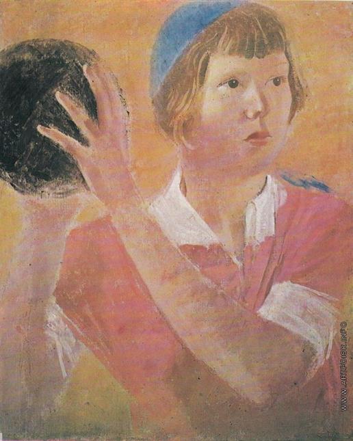 Самохвалов А. Н. Девушка с мячем (Портрет дочери Марии)