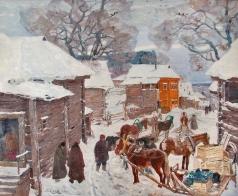 Исупов А. В. Подводы на улице старой Москвы зимой