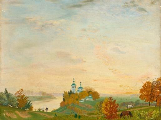 Кустодиев Б. М. Над рекой. Осень
