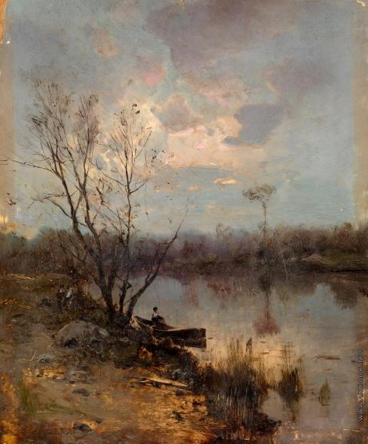 Васильковский С. И. Лодка на берегу реки