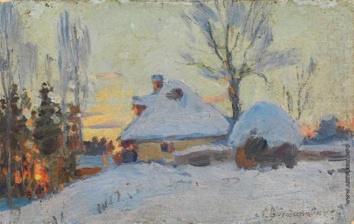 Васильковский С. И. Зимняя деревня на закате