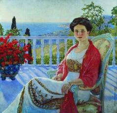 Богданов-Бельский Н. П. Дама на балконе. Кореиз. Портрет И.А.Юсуповой (?)