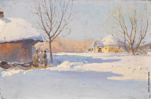Васильковский С. И. Украинская деревня зимой