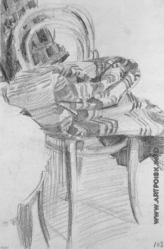 Врубель М. А. Плед на стуле. Лист из серии этюдов «Бессонница»