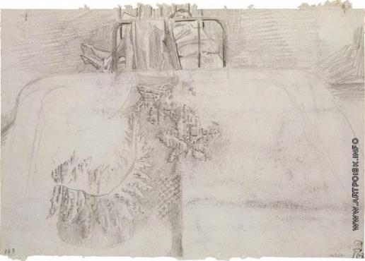 Врубель М. А. Пикейное одеяло. Кровать с фигурой спящего