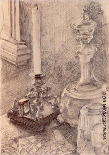 Врубель М. А. Натюрморт (Подсвечник, графин, стакан)