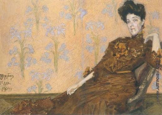 Врубель М. А. Портрет Н.И.Забелы-Врубель в кресле на фоне обоев