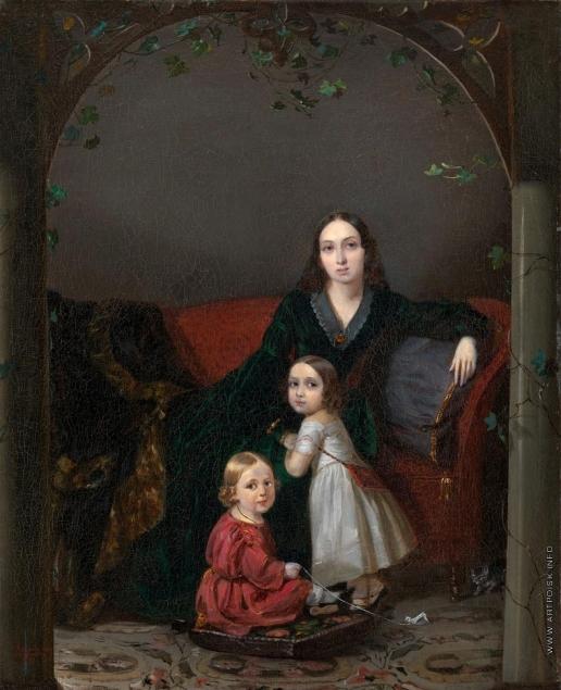 Захаров П. З. Портрет Анны Григорьевны Ермоловой со своими детьми