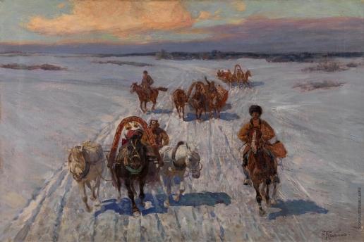 Рубо Ф. А. Крестьянские тройки зимой
