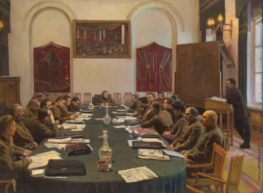 Бродский И. И. Собрание Реввоенсовета СССР, под председательством К.Е. Ворошилова