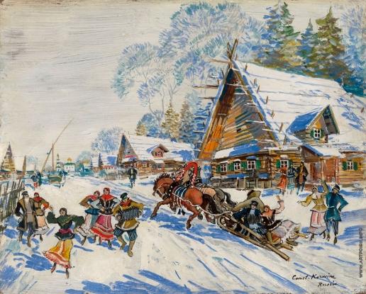 Коровин К. А. Русская деревня зимой