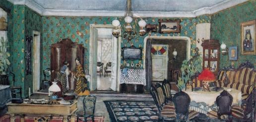Юон К. Ф. Комната Коркуновых. Эскиз декорации