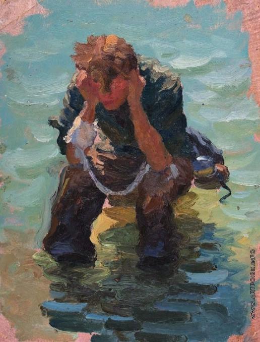 Волков Ю. В. Мужчина, сидящий в море