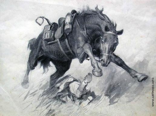 Волков Ю. В. Испуганная лошадь