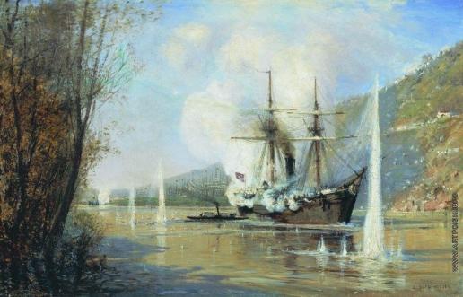 """Боголюбов А. П. Атака турецкого парохода миноносной лодкой """"Шутка"""" 16 июня 1877 года. Не ранее"""
