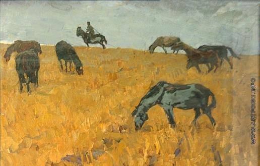 Попов И. А. Лошади на стерне