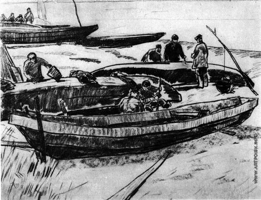 Попов И. А. Готовят лодки