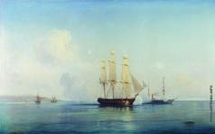 Боголюбов А. П. Бой русского брига с турецкими кораблями