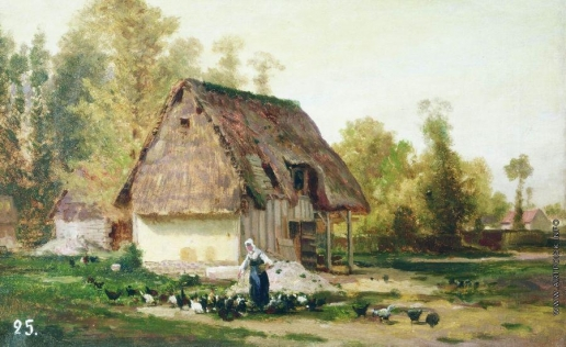 Боголюбов А. П. Вёль. Двор фермы. Осень