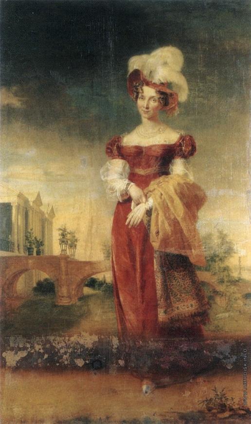 Доу Д. Ф. Портрет императрицы Елизаветы Алексеевны на фоне Камероновой галереи