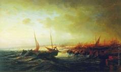 Боголюбов А. П. Вид Алласио. Вытаскивание лодки. Италия