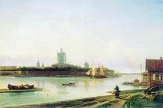 Боголюбов А. П. Вид Смольного монастыря с Большой Охты