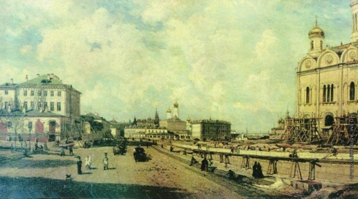 Боголюбов А. П. Вид храма Христа Спасителя с Пречистенки в Москве