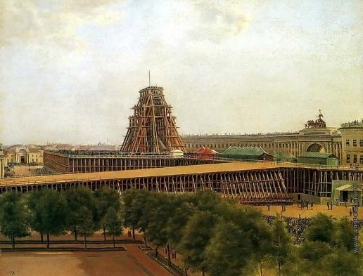 Денисов А. Г. Подъем Александровской колонны