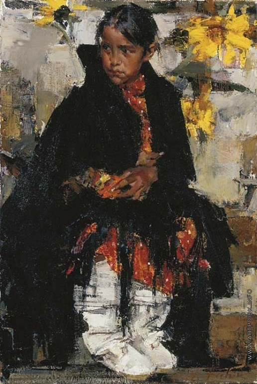 Фешин Н. И. Девочка из племени Таосов с подсолнухами